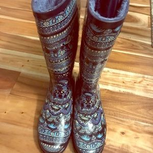 Shoes - Patterned Tall Rain Boots